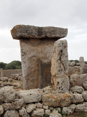 Talaiot de Trepuco megalithic t-shaped Taula monument and standing stone in Menorca Spain
