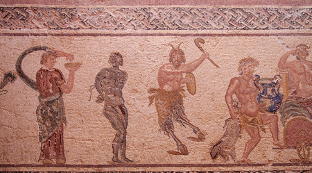 ancient roman house floor mosaic showing part of the triumph of Dionysus story in kato park paphos cyprus Standard-Bild