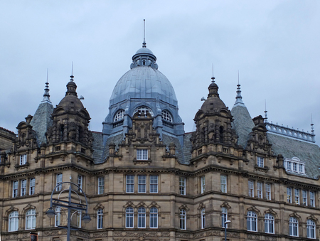 view of the roofs and domes of the historic 19th century kirkgate market in leeds west yorkshire