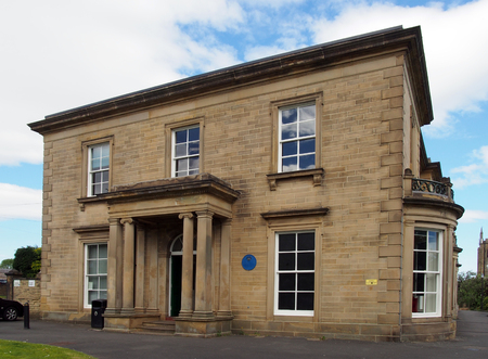 brighouse, west yorkshire, united kingdom: 24 may 2017: brighouse public library built in 1841 as a private house called the rydings