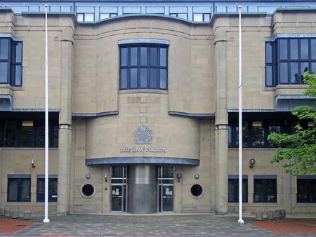bradford, west yorkshire, united kingdom - 28 may 2019: the front of bradford law courts in west yorkshire in Exchange Square Drake Street Bradford