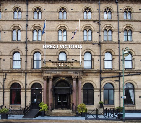 bradford, west yorkshire, united kingdom - 28 may 2019: the facade of the historic 19th century great victoria hotel in bradford west yorkshire