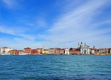 panoramic view of venice from the sea showing the zattere salute area with the church of santa maria del rosario and waterfront landmark buildings 스톡 콘텐츠