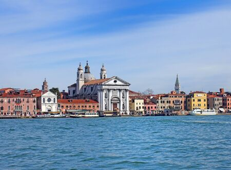 a view of venice from the sea showing the zattere salute area with the church of santa maria del rosario and waterfront landmark buildings