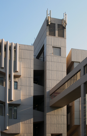 leeds, west yorkshire, united kingdom - 13 may 2019: the tower and footbridge of the roger stevens building at the university of leeds a brutalist concrete building by chamberlain powell and bon 1970