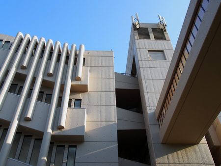 leeds, west yorkshire, united kingdom - 13 may 2019: close up of the the roger stevens building at the university of leeds a brutalist concrete building by chamberlain powell and bon 1970