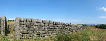 a long perspective view of a stone wall with gate between grass covered summer fields with blue sky in west yorkshire countryside