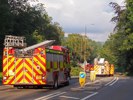 hebden bridge, west yorkshire, united kingdom - 1 august 2019: fire engines in the road at the former walkeys clogs mill in hebden bridge Redactioneel