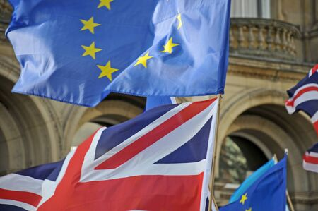 leeds, west yorkshire, united kingdom - 29 august 2019: british and european flags at the leeds for europe anti brexit demonstration