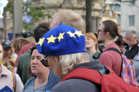 leeds, west yorkshire, united kingdom - 29 august 2019: a woman wearing a european flag beret at the leeds for europe anti brexit demonstration