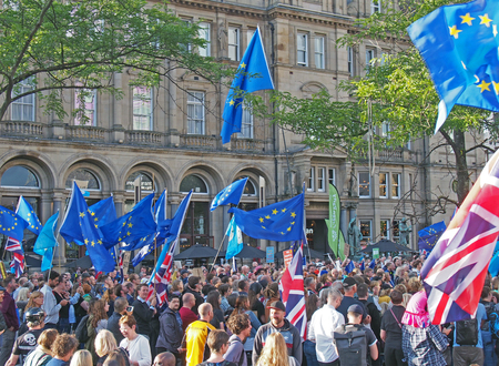 leeds, west yorkshire, united kingdom - 29 august 2019: a crowd with flags and banners at the leeds for europe anti brexit demonstration