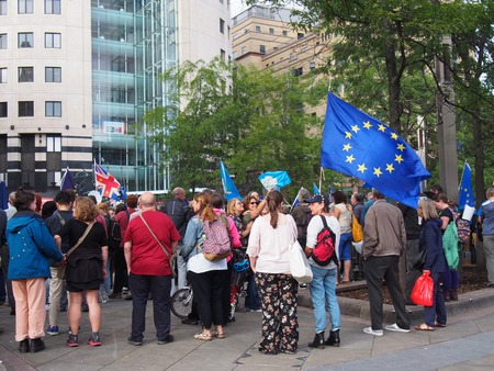 leeds, west yorkshire, united kingdom - 29 august 2019: people at the leeds for europe anti brexit demonstration
