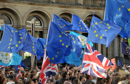 leeds, west yorkshire, united kingdom - 29 august 2019: a crowd of protesters waving flags at the leeds for europe anti brexit demonstration Redakční