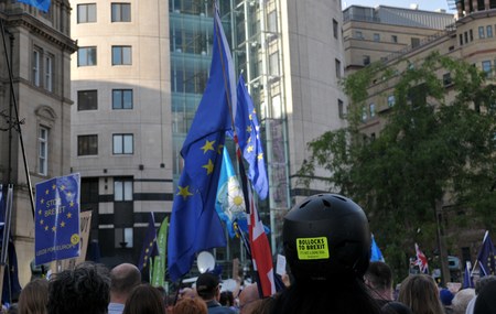 leeds, west yorkshire, united kingdom - 29 august 2019: protesters at the leeds for europe anti brexit demonstration Redakční