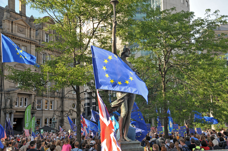 leeds, west yorkshire, united kingdom - 29 august 2019: a crowd of people and flags at the leeds for europe anti brexit demonstration