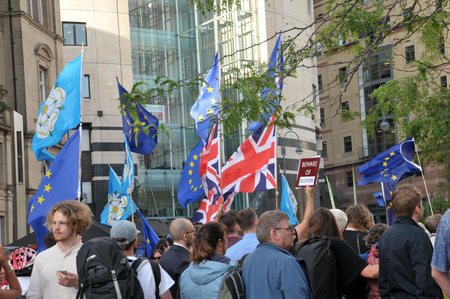 leeds, west yorkshire, united kingdom - 29 august 2019: people with flags and banners at the leeds for europe anti brexit demonstration