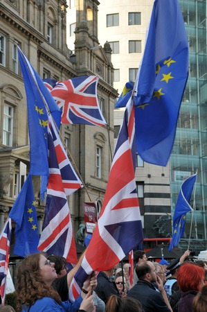 leeds, west yorkshire, united kingdom - 29 august 2019: people carrying flags at the leeds for europe anti brexit demonstration