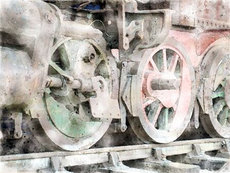 watercolor image of the wheels of an steam locomotive on tracks with rust fading green and red paint and missing parts