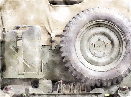 watercolor style image of the rear of an old United States World War II vehicle close up with details of military equipment