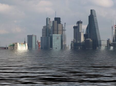 manipulated conceptual image of the city of london with buildings flooded due to global warming and rising sea levels Reklamní fotografie