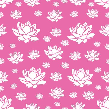 modern pink and white seamless repeating lotus flower design for fabric or wallpaper Фото со стока