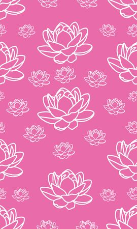 a modern pink and white seamless repeating lotus flower design for fabric or wallpaper