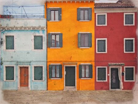 watercolor image of row of colorful painted houses in Burano Venice