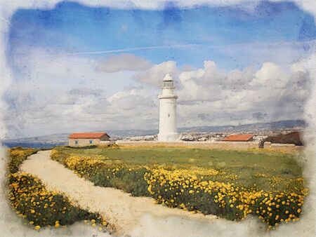 watercolor painting of the lighthouse in paphos cyprus with spring flowers growing alongside a path leading to the sea with blue sky and white clouds Stock Photo