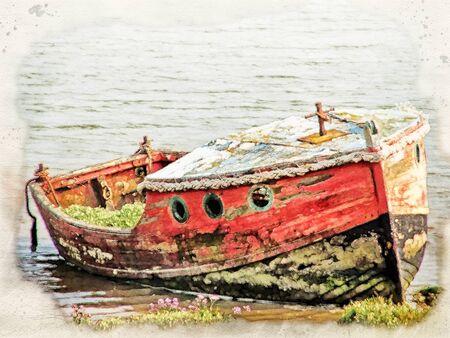 Imagen de acuarela de un viejo barco de madera destrozado de madera con pintura roja y negra descolorida en el borde de la orilla de un río