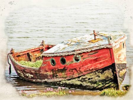 watercolor image of an old wooden wrecked wooden boat with faded red and black paint on the edge of a riverbank