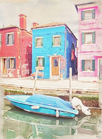 painting of houses along the canal and a boat in Burano Venice