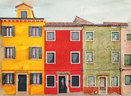 watercolor image of row of bright colorful painted houses in Burano Venice