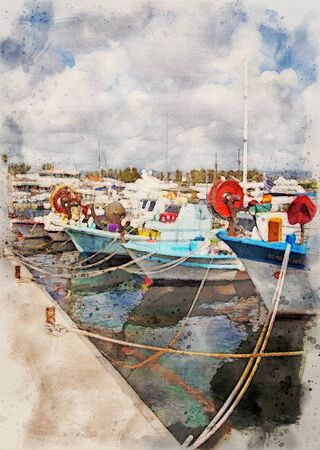 watercolor painting of colourful traditional fishing boats moored in the harbour in paphos cyprus