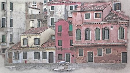 watercolor painting of old faded red and pink houses in a square in venice with shutters on ancient buildings