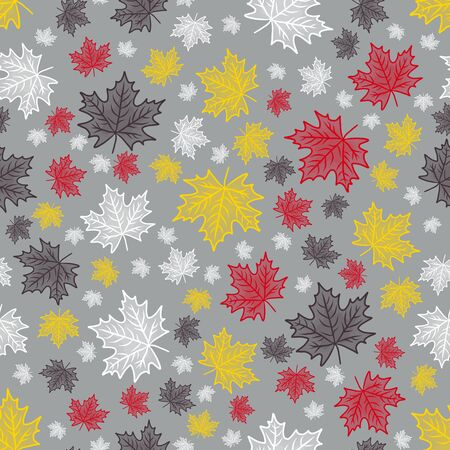 decorative maple leaf pattern 1950s mid century type seamless pattern on a grey background