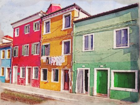 watercolor painting of a row of colorful houses along a canal in Burano Venice