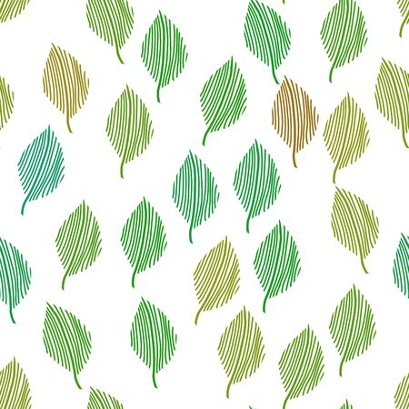 modern retro vintage style seamless leaf pattern in spring green colors