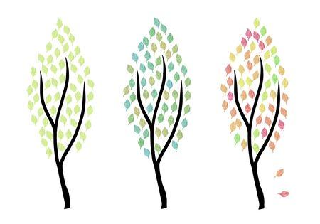 modern minimalist illustration of three trees in spring summer and autumn colors Stok Fotoğraf