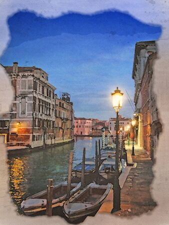 a watercolor painting of a venice street at night canal with illuminated buildings and lamplight reflected in the water