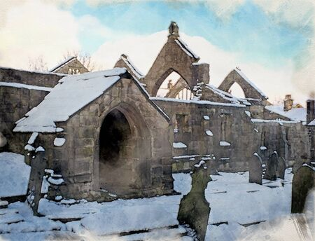 watercolor painting of the ruined medieval church in heptonstall in west yorkshire covered in snow in winter with a blue sky Фото со стока