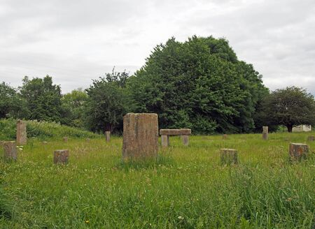 leeds, west yorkshire, united kingdom - 18 june 2019: View of the Stourton Stone Circle at Thwaite Lane still used today by a local Pagan group as a place of worship.