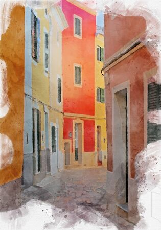 watercolor effect image of brightly painted traditional houses on a cobbled quiet empty sunlit street in ciutadella menorca