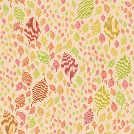 modern seamless flowing leaf pattern in vintage Scandinavian style colors