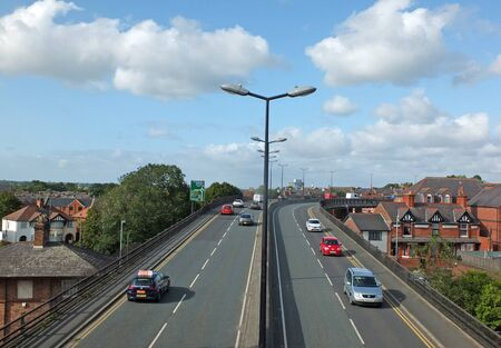 chester, cheshire, united kingdom - 7 september 2019: saint martins gate along the route of chester city walls a pedestrian bridge crossing the saint martins way section of the ring road leading to fountains roundabout