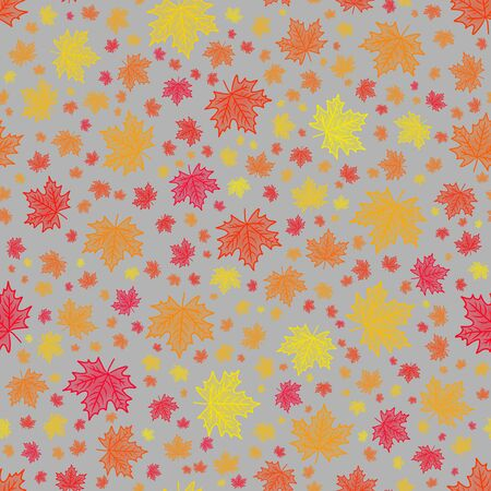 bright colorful seamless scattered maple leaf pattern in vibrant autumn colors on a light grey background