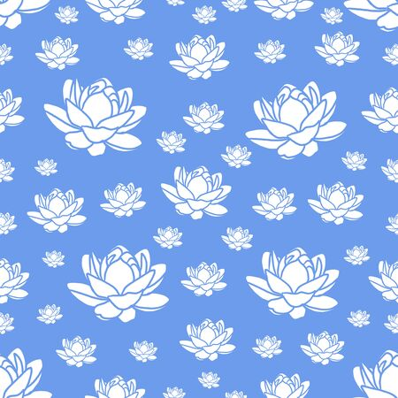 a modern blue and white seamless repeating lotus flower design for fabric or wallpaper