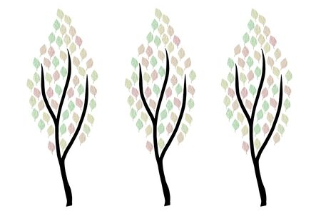 modern minimalist illustration of three trees in autumn colors