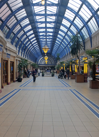 blackpool, lancashire, united kingdom - 27 july 2017: people walking in the arcade area of the winter gardens in blackpool
