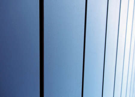 modern textured metallic blue vertical panels architectural abstract background Stock Photo