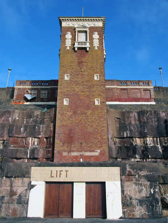 Blackpool, Lancashire / United Kingdom - 4 March 2020: The Cabin Lift at Blackpool North Shore Boating Pool a grade 2 listed building built in 1930